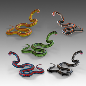 Animated detailed snakes with PBR textures.