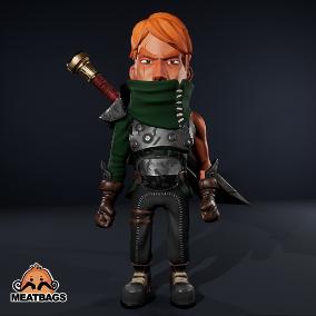 Game Ready Stylized Swordsman, fully animated [anim]