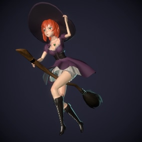 Low poly Anime Witch