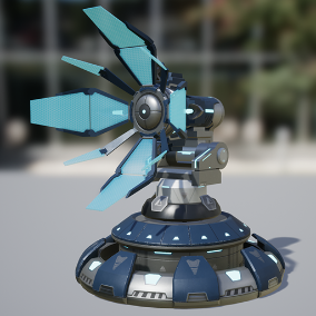 Antenna Sci-Fi, ideal to decorate any Sci-Fi environments with other turrets, weapons or props, also is ideal for games with isometric cameras, tower defense style and others.