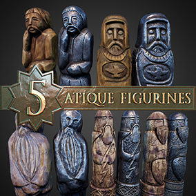 5 stylized ancient figures-idols in 2 materials: wood and metal.