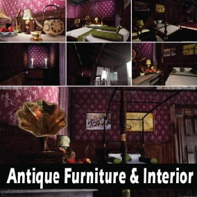 "The ""Antique Furniture & Interior"" - Ready game level.  high quality assets for your game."