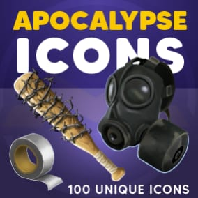 Apocalypse icons of resources, tools, food, weapons and general survival items.