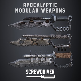 A set of modular construction kit apocalyptic 4K fps melee knives that can be used in games.