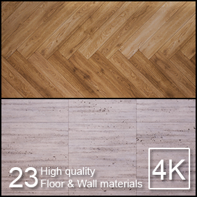A selection of 23 high quality floor & wall materials for architectural visualization.