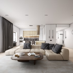 High quality modern complete interior scene with 60 different objects.
