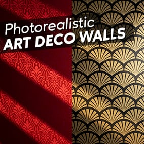 Layered Photorealistic Art Deco Material Set (fully customizable)