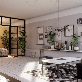 Hi-poly archviz scene of home interior.