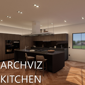A photo-realistic kitchen scene with ~890,000 triangles and over 44 materials and instances!