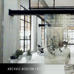 Elegant loft with big windows. HQ Interior on 2 levels with furniture, perfect for archviz, VR, or video games.