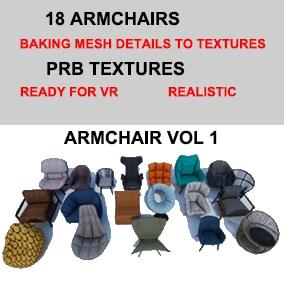 Armchair Vol. 1 ( All asset was created for Archviz and VR - 18 armchair )