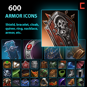 Set of 601 hand drawn armor icons.