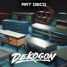 A collection of art deco inspired and designed tables, desks, and cabinets !