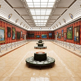 Art Gallery interior with 28 unique paintings.