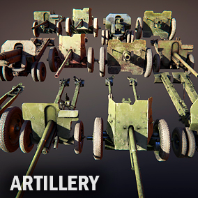 Here you can find four 20 century artillery cannons