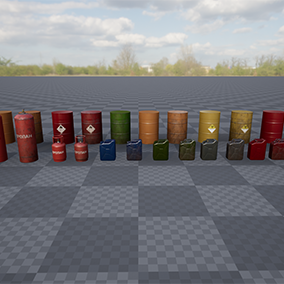 A set of barrels, cans, and gas bottles. high quality assets executed in a realistic style.