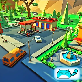 ASHEVILLE is a cute Low Poly urban city. This package, containing 111 models, presents a collection of buildings, vehicles, props and foliage to create various types of low poly style games.