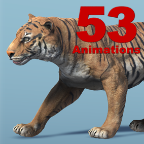 Tiger Skeletal Mesh with 53 animation set