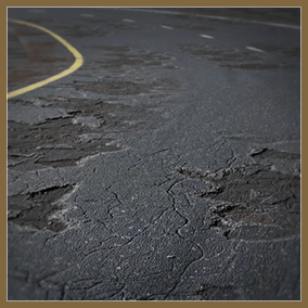 A variety of asphalt and concrete road materials with single and double lanes, clean, worn and broken versions of each. All are 4k (4096)