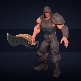 """Game ready low-poly model of the character """"Assassin"""""""