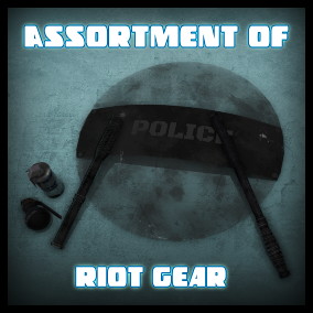 A collection containing an assortment of Riot Gear, Including Batons, Riot Shields and Less than Lethal Grenades