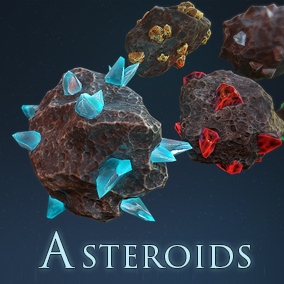 Asteroids Ore pack include 11 stylized models