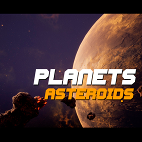 Asteroids Planet pack contains: 10 Models of Asteroids, 12 Materials of Planets, 11 Materials of Asteroids, 10 Space SkyDome, 10 Demonstration Maps, Sky Blueprint, Matterials of Loot