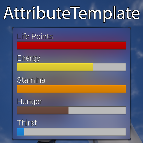 Create your own attributes in minutes or use already existing examples like Life, Stamina, Hunger, or Thirst!