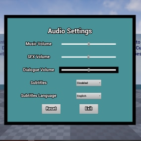 Simple audio system with settings menu