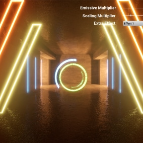 Interactive neon dynamic lighting environments with materials