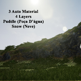 3 automatic landscape materials, 4 layers, puddle and snow, all materials with tesselation, everything is fast and easy