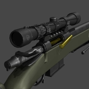 Highly detailed Awm Sniper 3D model with realistic appearance. A low poly model created with game development in mind.