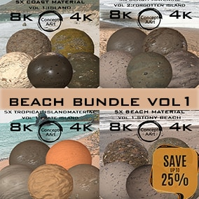 Super Realistic Beach material Bundle for all platforms. All Textures have their own 8K,4K,2K and 1K version and ready for every kind of project.