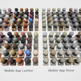A Package of 200 highly customizable material instances with seamless textures. The pack includes a set of 100 material instance versions for windows/console, and an additional set of 100 material instance versions for mobile devices.