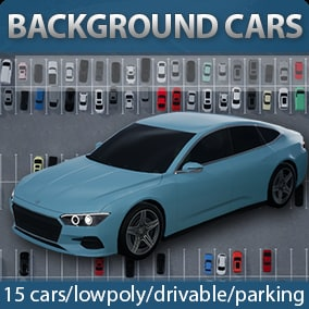 15 lowpoly cars + drivable cars + parking blueprint