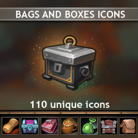 A set of 110 hand drawn Bags And Boxes Icons.