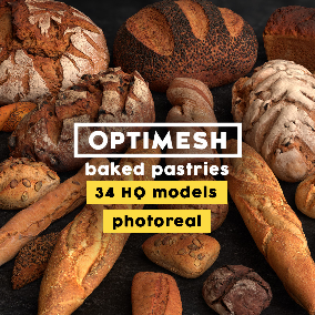 34 photorealistic models of various pastries; detailed 4K PBR materials; HD variant for close-ups