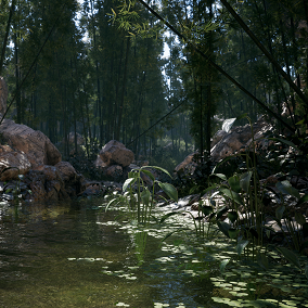 This package contains a small valley scene constructed using photogrammetry-based rocks, cliffs and bamboos