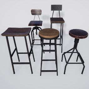 Five realistic stools for modern bars or restaurants
