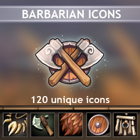 A set of 120 hand drawn Barbarian Icons.