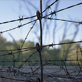 Realistically rendered military barbed wire entaglements commonly used in the construction of military defense barricades and defenses in order to stop enemy soldiers (or zombies) from advancing on your position.