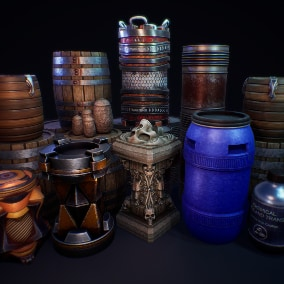 Barrel Meshes to decorate UE4 environments