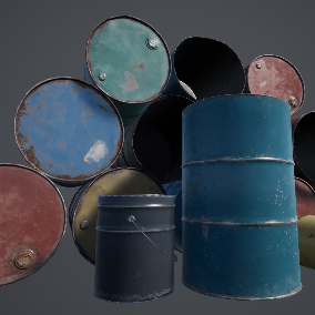 Metal barrels  and bucket, total 9 meshes with LOD's and custom color.