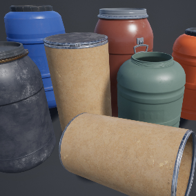 Plstic Barrels, meshes with LOD's, and custom color materials.
