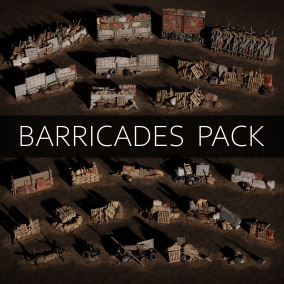Barricades Pack Low-poly 3D model Ready for Game