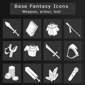 Set of 200 Base Fantasy icons.