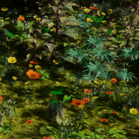 This is a pack of low poly foliage assets. It has 21 meshes which makes up for 17 species of plants.