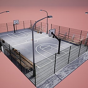 This asset contains a pack of HQ props of basketball court.