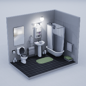 Toilet, Sink, Tub, Urinal and Wares with 4-6 PBR Material variants per asset, static variants, and LODs. Tiles are also included.