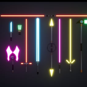 Beam Weapons! Includes hilt, beams, materials to control size, sound effects and basic blueprints! Bjoom! Bjoom!